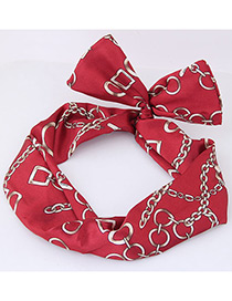Lovely Red Chain Pattern Decorated Hair Band