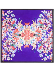 Fashion Purple Flower Pattern Decorated Square Shape Scarf