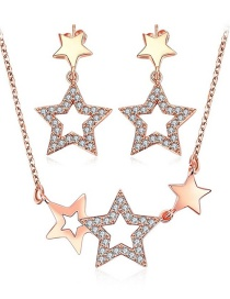 Vintage Rose Gold Hollow Out Star Decorated Jewelrys Sets