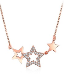 Fashion Rose Gold Hollow Out Star Decorated Necklace