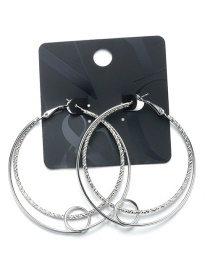 Fashion Silver Color Double Round Shape Decorated Earrings