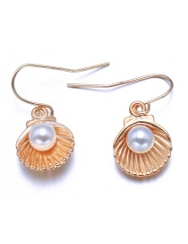 Elegant Gold Color Shell Shape Decorated Earrings