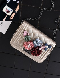Fashion Purple+white Flower Decorated Square Shape Pure Color Shoulder Bag