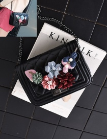 Fashion Black+pink Flower Decorated Square Shape Pure Color Shoulder Bag