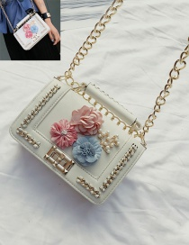 Fashion White Flower&chain Decorated Pure Color Shoulder Bag