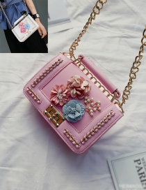 Fashion Pink Flower&chain Decorated Pure Color Shoulder Bag