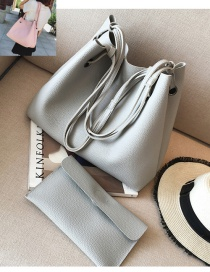 Fashion Gray Rectangle Shape Decorated Pure Color Shoulder Bag (2 Pcs)