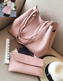 Fashion Pink Rectangle Shape Decorated Pure Color Shoulder Bag (2 Pcs)