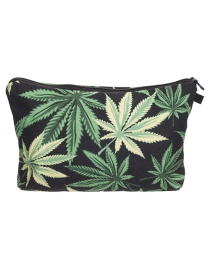 Fashion Green Leaf Pattern Decorated Cosmetic Bag