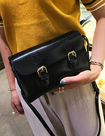 Fashion Black Double Hasp Decorated Bag