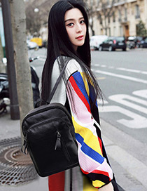Fashion Black Pure Color Decorated Square Shape Backpack