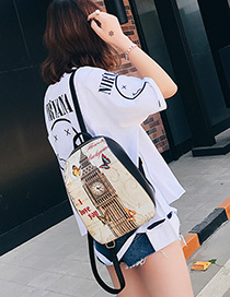 Fashion Beige Bell Tower Pattern Decorated Backpack