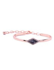 Fashion Black Diamond Decorated Rhombus Shape Pure Color Bracelet