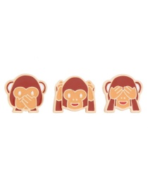 Fashion Brown Monkey Shape Decorated Pure Color Collar Buckle (3 Pcs)