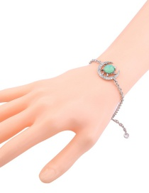 Fashion Silver Color Moon Shape Decorated Pure Color Bracelet