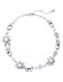 Fashion Silver Color Pearl&diamond Decorated Pure Color Necklace