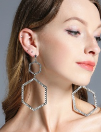 Fashion Silver Color Diamond Decorated Rhombus Shape Pure Color Earrings