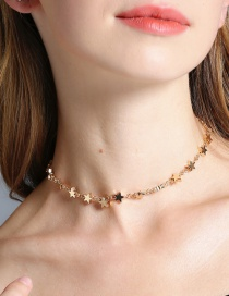 Fashion Gold Color Star Decorated Pure Color Necklace