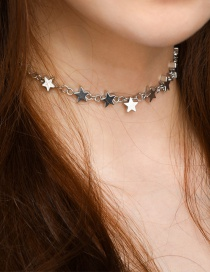 Fashion Silver Color Star Decorated Pure Color Necklace