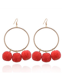 Fashion Gold Color+orange Pom Ball Decorated Circular Ring Shape Earrings