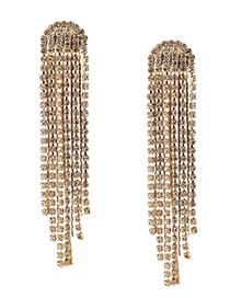 Fashion Gold Color Diamond Decorated Tassel Pure Color Earrings