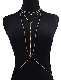 Fashion Gold Color Diamond Decorated Star Shape Body Chain