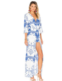 Fashion White+blue Flower Pattern Decorated Color Matching Dress
