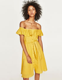 Fashion Yellow Pure Color Decorated Off Shoulder Dress