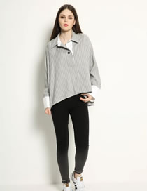 Fashion Gray Stripe Pattern Decorated Pure Color Long Sleeves Shirt