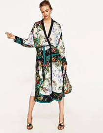 Fashion Multi-color Flower Pattern Decorated Color Matching Long Jacket