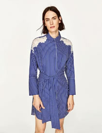 Fashion Sapphire Blue Stripe Decorated Pure Color Long Sleeves Dress