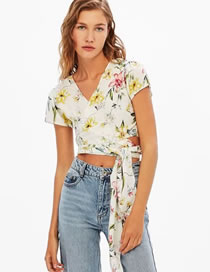 Fashion White Flower Pattern Decorated Color Matching Short Sleeves Shirt