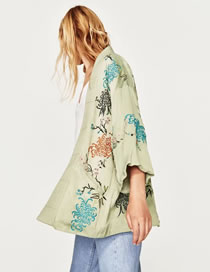 Fashion Green Embroidery Flower Decorated Pure Color Shirt