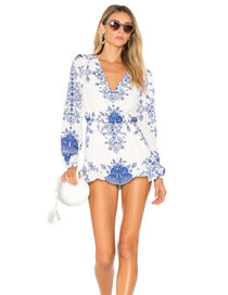 Fashion White+blue Flower Pattern Decorated Pure Color Long Sleeves Jumpsuit