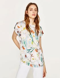 Fashion White Flower Pattern Decorated Color Matching Shirt