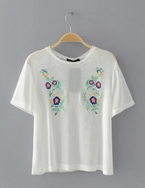 Fashion White Embroidery Flower Decorated Hollow Out Short Sleeves Shirt