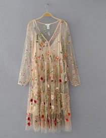 Fashion Apricot Embroidery Flower Decorated Hollow Out Long Dress