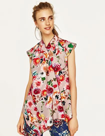 Fashion Multi-color Flower Pattern Decorated Color Matching Shirt