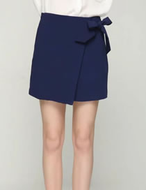 Elegant Navy Bowknot Decorated High Waist Pure Color Dress