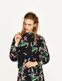 Fashion Multi-color Flower Pattern Decorated Color Matching Long Sleeves Cost