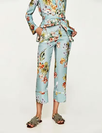 Fashion Green Flower Pattern Decorated Color Matching Trousers