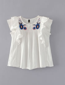 Fashion White Embroidery Flower Decorated Lotus Leaf Pure Color Shirt