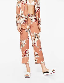 Fashion Orange Flower Pattern Decorated Color Matching Trousers