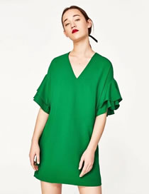 Fashion Green Lotus Leaf Decorated Pure Color Simple Dress