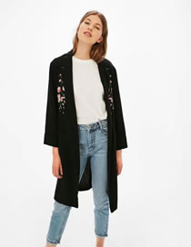 Fashion Black Embroidery Flower Decorated Pure Color Long Sleeve Coat