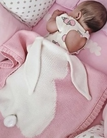 Fashion Pink Rabbit Shape Decorated Pure Color Blanket