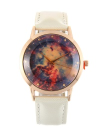 Elegant White Stars Pattern Decorated Pure Color Watch