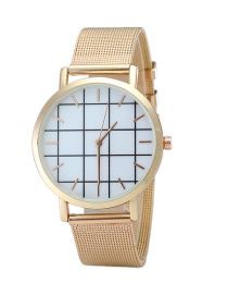 Fashion Rose Gold Plaid Pattenr Decorated Pure Color Watch