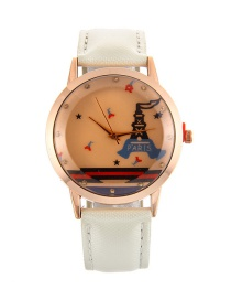Fashion White Tower Pattern Decorated Pure Color Watch