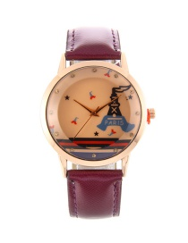 Fashion Purple Tower Pattern Decorated Pure Color Watch